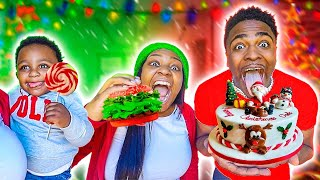 EATING ONLY CHRISTMAS FOOD FOR 24 HOURS CHALLENGE | VLOGMAS DAY 8