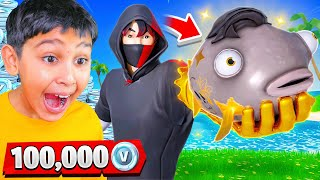 Catch the MIDAS FISH for 100k VBucks with My Little Brother! - Fortnite