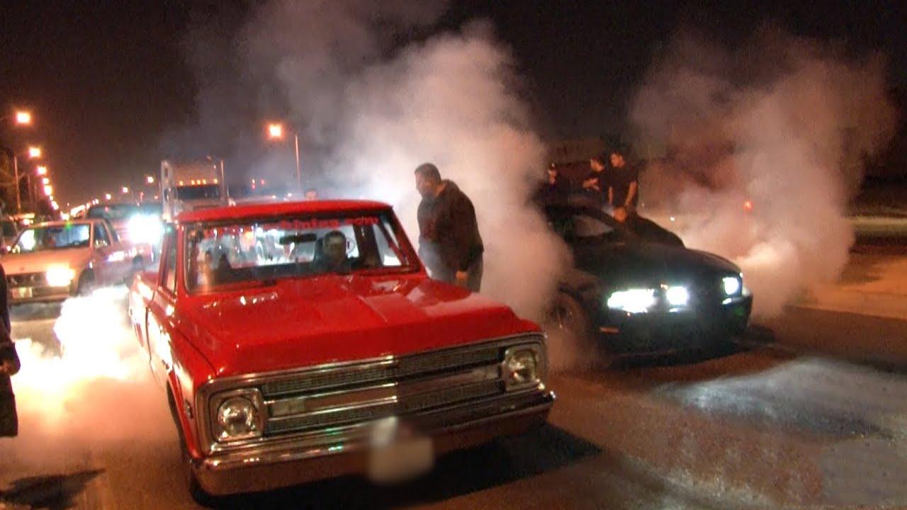 Chevy Muscle Cars >> L.A. Street Racing - 1000hp + Nitrous C10 vs 700hp Mustang ...