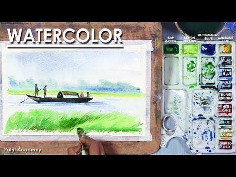 Watercolor Landscape : Running Boat in the River