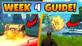 Fortnite WEEK 4 CHALLENGES GUIDE! – WAILING WOODS CHESTS, Treasure Location (Battle Royale Season 4)