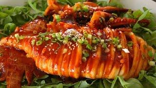 Spicy grilled squid (Grilled calamari, ojingeo-tonggui: 오징어통구이)