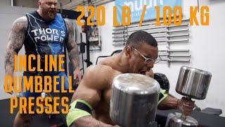220lb/100kg INCLINE DUMBBELL PRESS X5