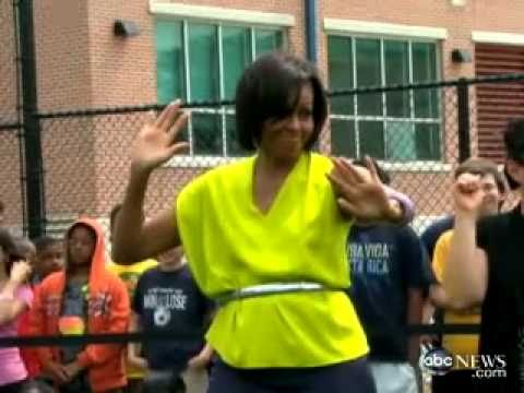 Michelle Obama Dances 'The Dougie'  At Alice Deal Middle School