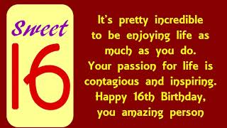Happy 16th Birthday Wishes - Sweet Sixteen Birthday Messages