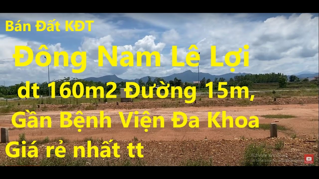 Bán đất KĐT Đông Nam Lê Lợi, TP Đồng Hới, DT 160m2 đường 15m, gần bệnh viện Đa Khoa, giá rẻ 2tỷxxx video