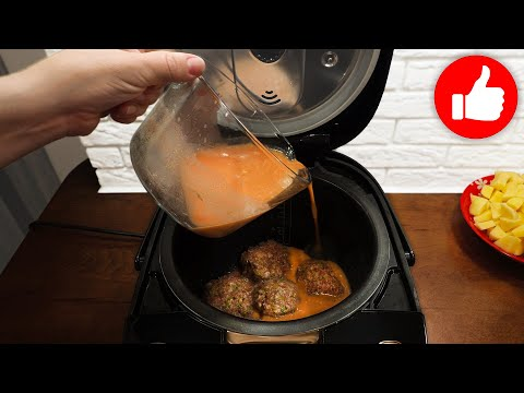Я просто залила соусом тефтели из кабачков! 5 минут и все готово! Два блюда в мультиварке!
