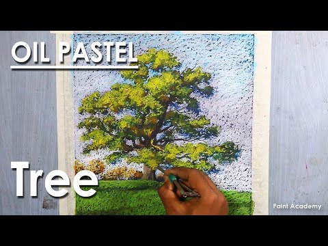 Oil Pastel Drawing : A Composition on A Beautiful Tree