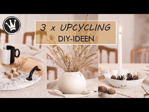 DIY –  3 UPCYCLING IDEEN | Herbstdeko | Kerzenteller, Tablett, Blumenvase | VERLOSUNG DekoideenReich