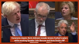 Boris Johnson picks up mic, MP Soubry interrupts, then BoJo mocks Bercow and reveals Corbyn's salary