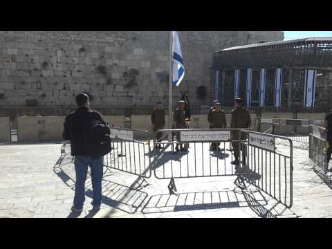 Changing of the guards by the Yizkor Candle at the Kotel, Yom Hazikaron 2013