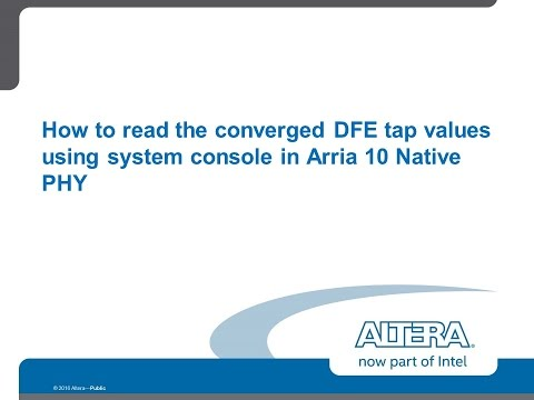 Reading the DFE tap values in Arria10 Native PHY