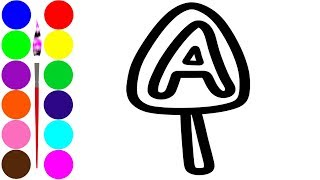 Learn Alphabet ABC coloring with ice cream and drawing Learn Colors for kids VOVING COLORING