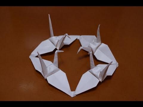 Jak złożyć połączone żurawie z papieru