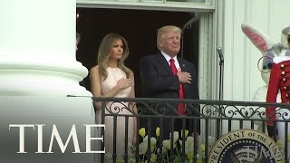 Melania Trump Nudges President Trump To Place His Hand Over His Chest During National Anthem   TIME