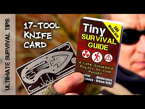 NEW! Tiny SURVIVAL CARD (w/Knife) +Tiny SURVIVAL GUIDE - Fits in Wallet / Altoids Tin - Best EDC Kit