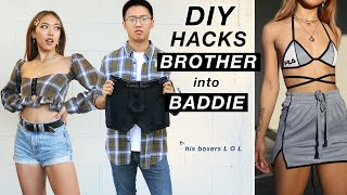 STEALING and UPCYCLING MY BROTHER'S CLOTHES DIY HACKS! | Nava Rose