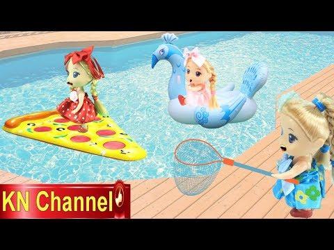 Đồ chơi trẻ em BÚP BÊ KN Channel CHƠI PHAO BÁNH PIZZA PHAO DƯA HẤU VÀ PHAO CON CÔNG