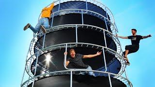 Last to Leave Trampoline SKYSCRAPER Wins $3000 Vacation! *SLIME CHALLENGE*