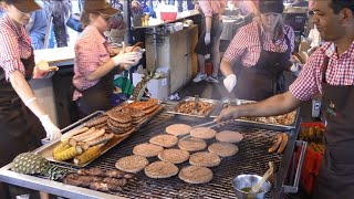 Burgers, Hot Dogs, Sausages on Huge Grills. Great BBQ Seen in Italy