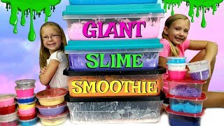 MIXING ALL OUR GIANT SLIMES!!! - DIY Giant Slime Smoothie!!!