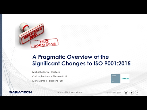 Solutions Webcast: Pragmatic Overview of the ISO 9001:2015 Compliance Update