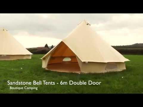 Boutique Camping 6m Sandstein Rundzelt mit Reißverschluss-Bodenplane Poly-Baumwollzelt