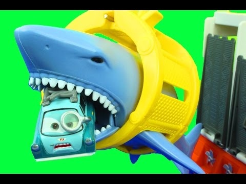 Matchbox Mission Marine Rescue Shark Ship with Disney Cars Lightning McQueen Mater Lemons Hot wheels
