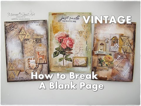 How To Break A VINTAGE Blank Page, Mixed Media Collage ♡ Maremi's Small Art ♡