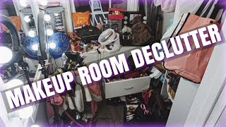 DECLUTTER & ORGANIZING MY MAKEUP ROOM!!!