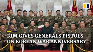North Korean leader Kim Jong-un gifts pistols to generals..