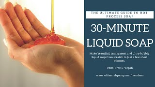 30-Minute Liquid Soap from Scratch! (Vegan/Palm-Free by The Ultimate Guide to Hot Process Soap)