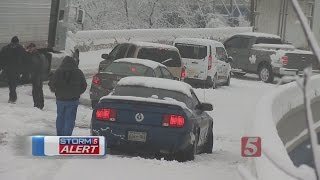 Snow Turns I-40 Into A Parking Lot