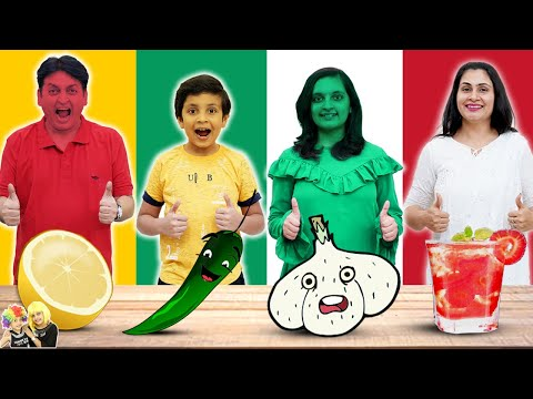 1 COLOUR FOOD EATING Challenge | Red Green White Yellow food | Family Challenge | Aayu and Pihu Show