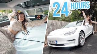 24 HOURS LIVING IN MY CAR! TESLA MODEL 3!