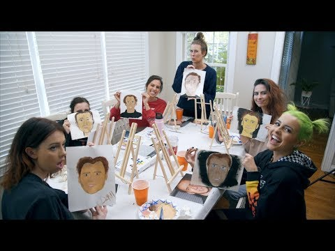 Painting pictures of Nicolas Cage.