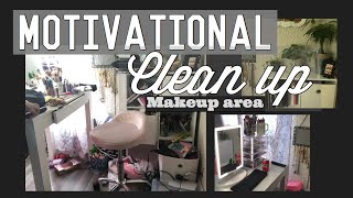 Motivational clean up/ makeup area