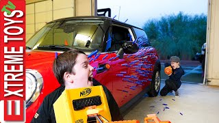 Sticky Nerf Dart Battle! Sneak Attack Squad gets Crazy With Old School Nerf Blasters