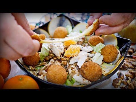 Новогодний салат со снежками | Рецепт салата с курицей и грушей и сырными шариками
