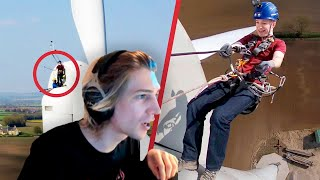 xQc Reacts To Taking The Emergency Exit From A Wind Turbine by Tom Scott
