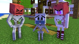 Monster School: Poor Baby Skeleton Life (Bad Family) Sad story but happy ending- Minecraft Animation