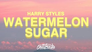 "Harry Styles - Watermelon Sugar (Lyrics) ""tastes like strawberries"""