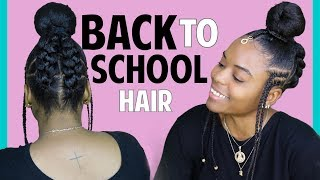 Braided Bun with Kanekalon Hair | Collaboration with GlamFam | Back to School Natural Hair Ideas
