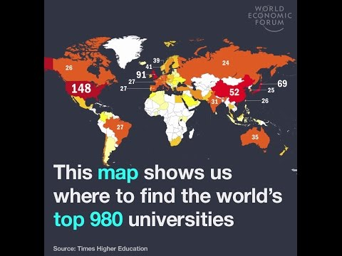 This map shows us where to find the world's top 980 universities