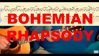 BOHEMIAN RHAPSODY - Tutorial for Guitar (TABS and Score)