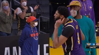 Anthony Davis and LeBron James trolling Spike Lee 🤭 Lakers vs Knicks