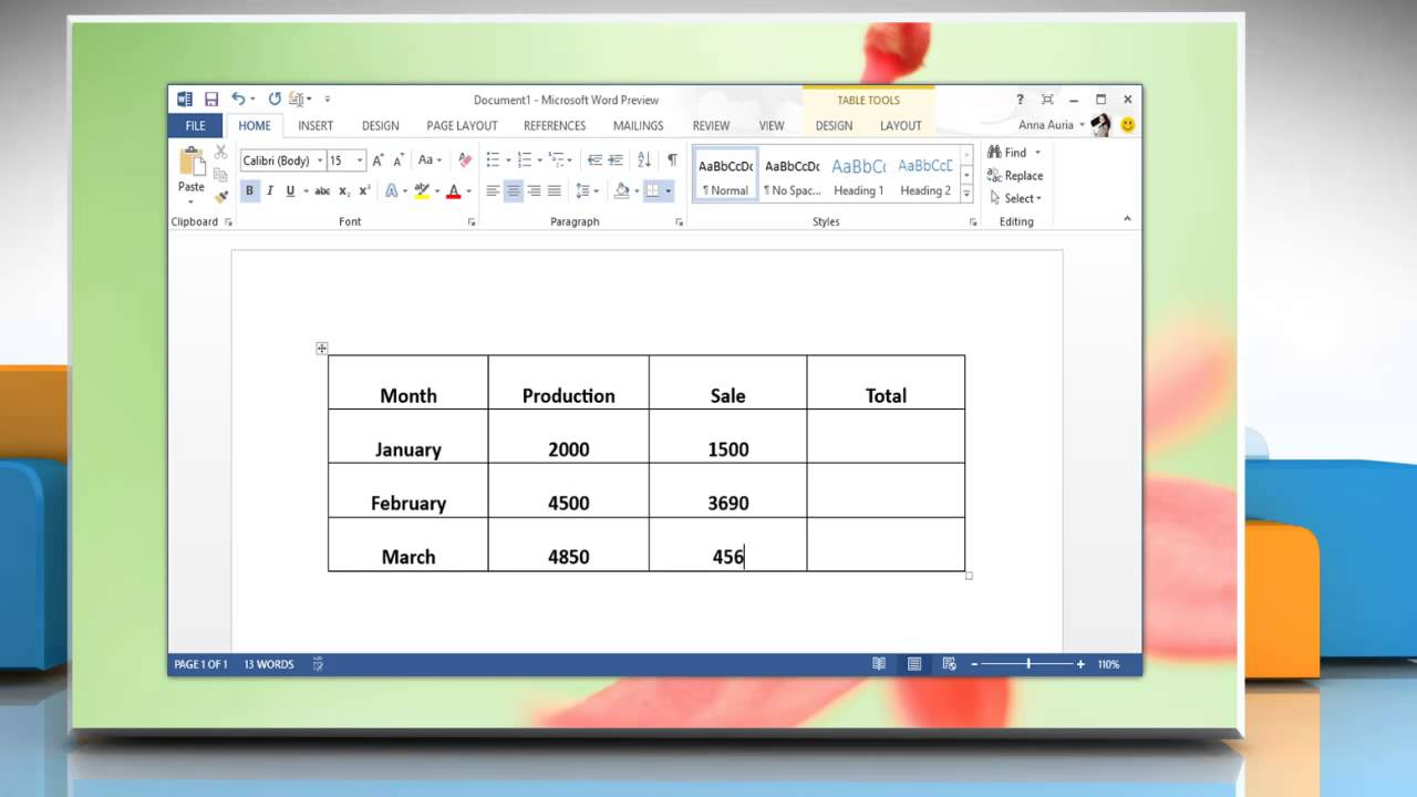 how to write a word document on windows 8