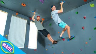 We Built a Rock Climbing Wall in J-Fred's House!