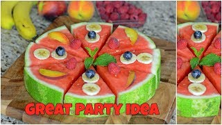 Watermelon Fruit Salad Pizza with Honey. Simple Easy and Tasty Party Food Ideas.