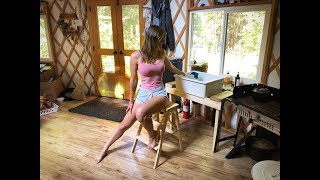 Living Off Grid in a Yurt | Solar Panels with Batteries | Harvesting Rainwater Off Roof - Ep. 39